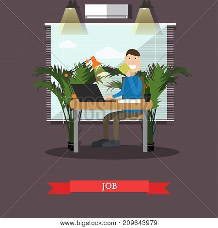 Vector illustration of office worker male using computer and drinking coffee. Job concept flat style design element.
