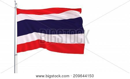 Flag of Thailand on a flagpole fluttering in the wind on white background 3d rendering