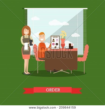 Vector illustration of waitress taking order from visitor male sitting at table and holding menu. Coffee house interior. Flat style design.
