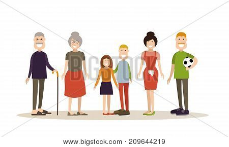 Vector illustration of grandparents, parents and children boy and girl. Family people concept flat style design elements, icons isolated on white background.