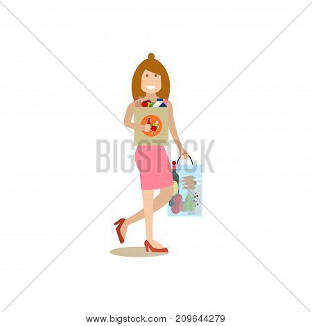 Vector illustration of woman with bags full of groceries. Mother with purchases. Family people concept flat style design element, icon isolated on white background.