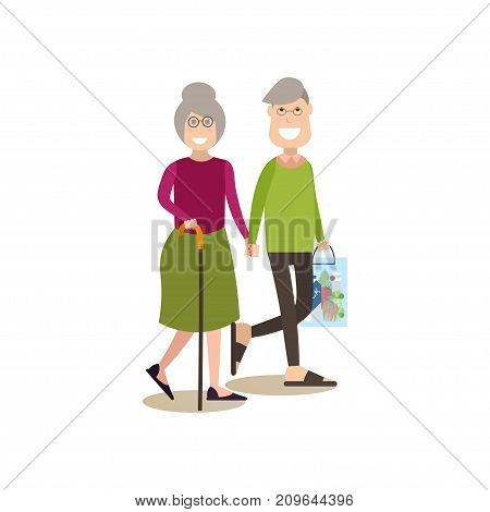 Vector illustration of elderly man and woman holding hands. Parents concept flat style design element, icon isolated on white background.