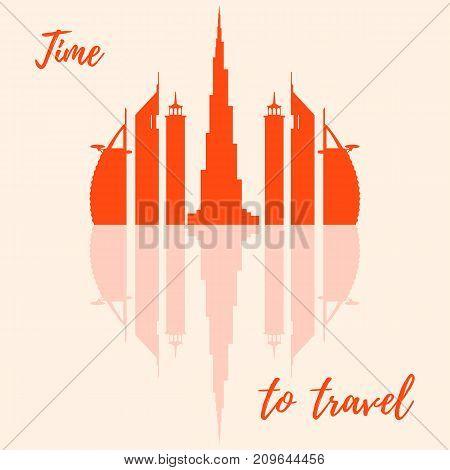 Vector Illustration Of United Arab Emirates Skyscrapers Silhouette. Dubai Buildings.