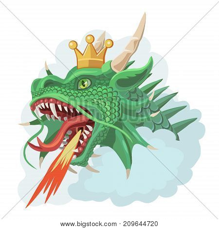 Green dragon with a crown in the clouds he is protected from enemy fire under his tongue he exhales and throws the flame