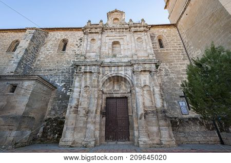 Church of Our Lady of the Assumption (Nuestra Senora de La Asunción) Buendía Cuenca Spain. It was built in 18th century using limestone at the basement and sandstone to erect the walls.
