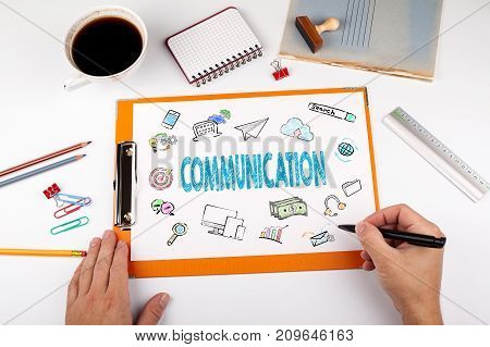 Communication Concept, keywords and icons. Office desk with stationery.