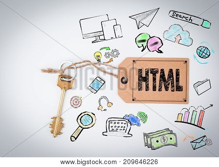 HTML Computer Coding, Website Concept. Key and note on white background.