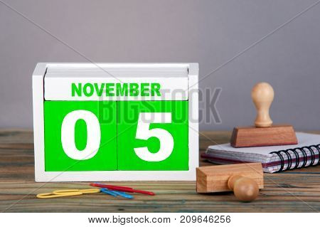 November 5. World Tsunami Awareness Day. close-up wooden calendar. Time planning and business background.