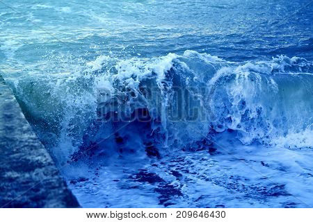 Photo background bright blue waves wonderful water effect