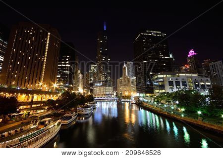 Downtown Chicago At Night.