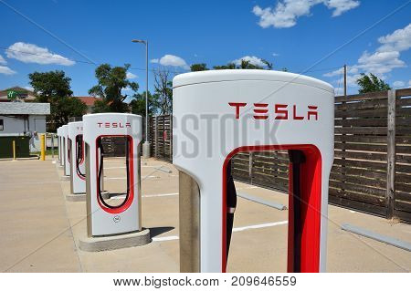 Shamrock Texas - July 20 2017: Tesla Supercharger Station in Shamrock Texas. Tesla motors develops network of the charging stations across World.