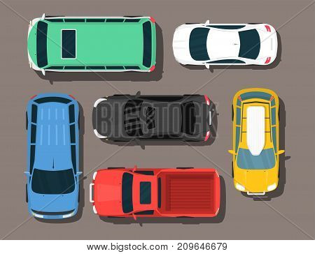 Top view colorful car toys different pickup automobile transport wheel transportation auto design vector illustration. Traffic roof motor vehicle freight graphic.