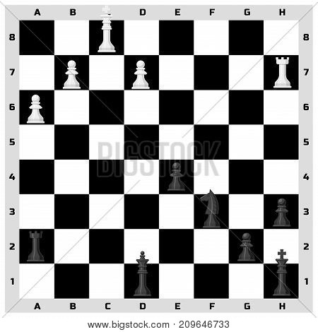 Chess board seamless pattern background chessmen leisure. Concept knight group white and black piece competition. Strategy play leisure battle choice tournament.