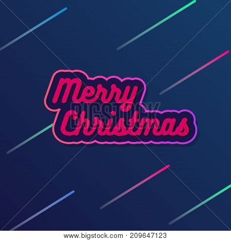 Vector Merry Christmas reeting ard with a blue gradient and pink letters. Vector illustration for a brochure design template, postcard, packaging and advertising.