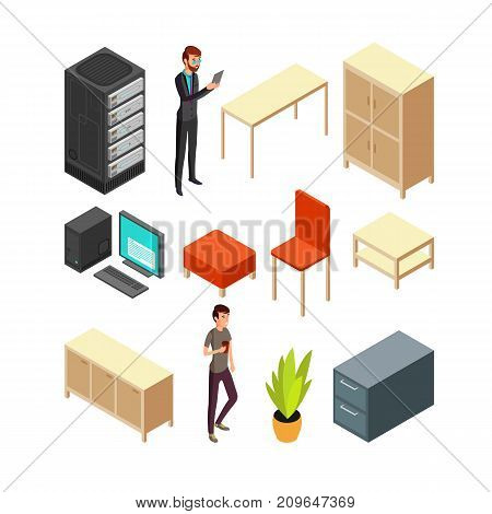 Set of office isometric icons. Server rack, table, armchair, computer, table, cupboard and some office people. Flat vector illustration