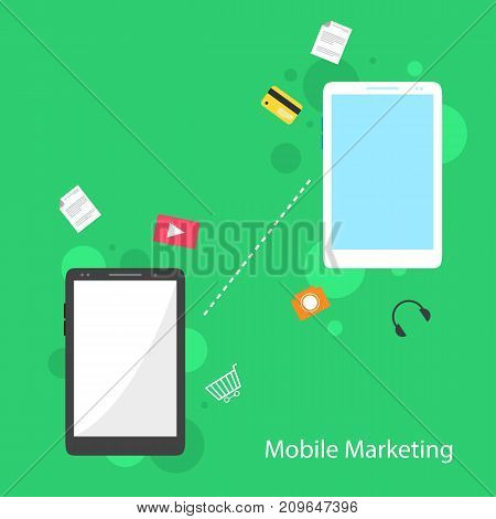 Mobile marketing flat design background vector illustration