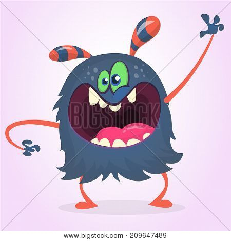 Angry cartoon black monster screanimg and waving hand. Yelling angry monster expression. Halloween character. Vector illustrations.