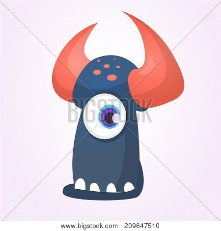 Cartoon black monster with horns and one eye.Vector illustration