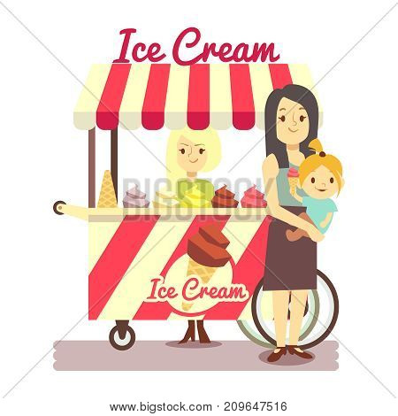 Young girl sells ice cream and mother with baby girl with ice cream isolated on white background. Vector illustration