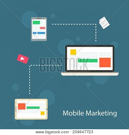 Collection mobile marketing design flat vector art illustration