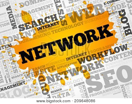 Network Word Cloud Collage, Internet Concept Background