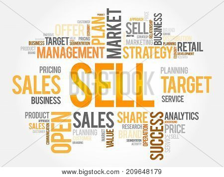 Sell word cloud business , concept background