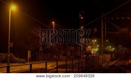 Railway station in the night.Autumn time evening.