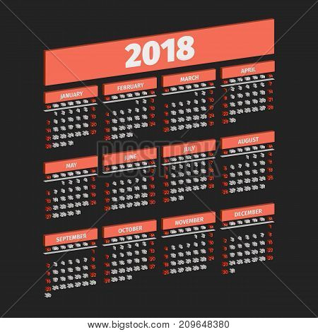 Three dimensional 2018 year calendar, week starts on sunday
