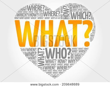 WHAT? Question heart Questions words concept background