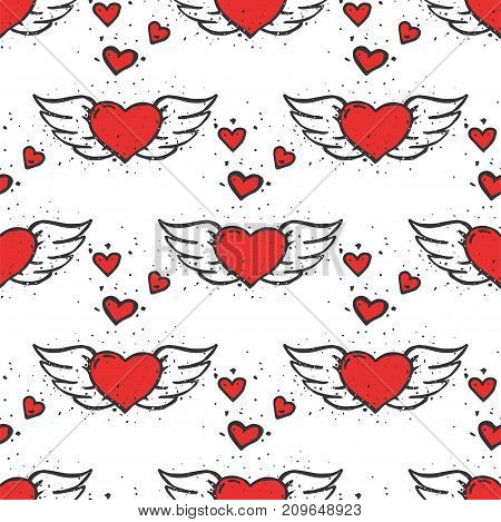 Simple red heart sharp vector seamless pattern background color card beautiful celebrate bright emoticon symbol holiday abstract art decoration. Romance shape design love amour.