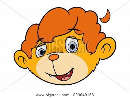 Illustration of the cute little smiling lion head