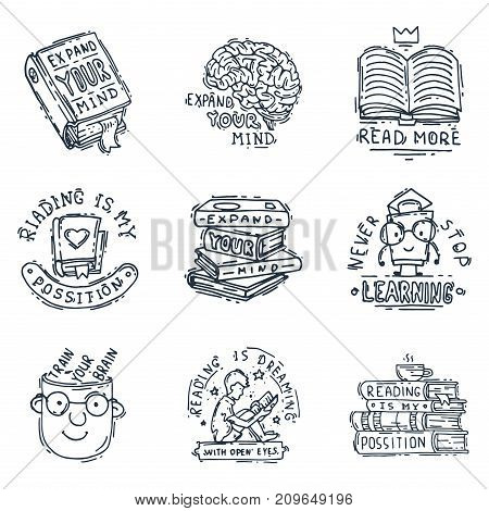 Love reading motivation quote phrases badge logo bubble on book vector illustration. Reading motivation badge university graphic knowledge library sign. Literature