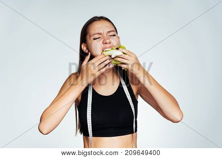 beautiful young girl wants to lose weight, so she eats low-calorie Peking cabbage