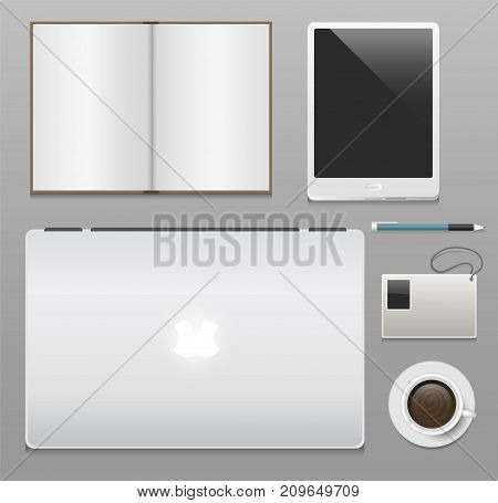 Premium corporate identity template set business stationery mock-up realistic 3d top view vector illustration. Set of envelope, notebook, card, folder vector illustration.