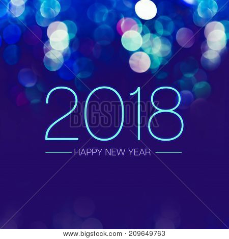 Happy New Year 2018 With Blue Bokeh Light Sparkling On Dark Blue Purple Background,holiday Greeting