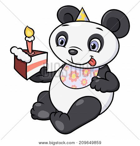 Illustration of the cute little panda eating birthday cake