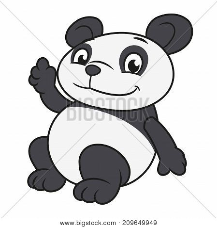 Illustration of the cute little panda waving hand