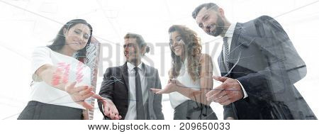 Executive woman talking with her business team