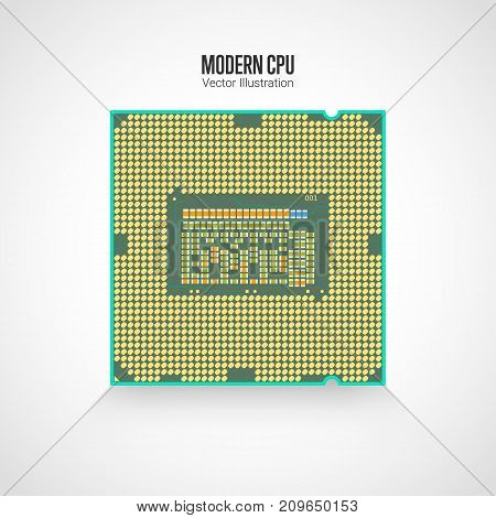 Modern processor. Reverse side of the CPU. Realistic vector illustration