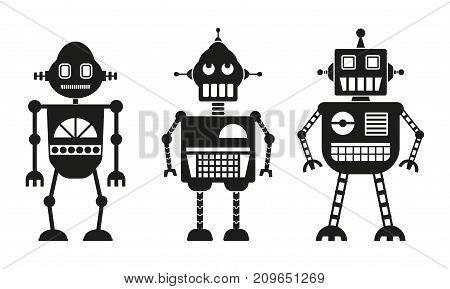 Robots icon or sign set. Vector robot collection.