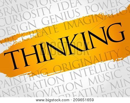 Thinking word cloud collage , business concept