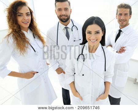 group of medical workers portrait in hospital