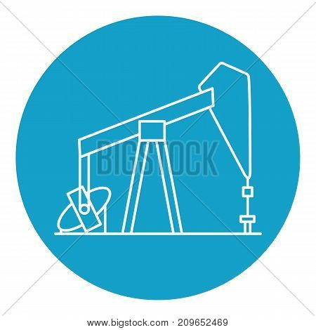 Oil rig icon in thin line style. Exploration and oil production symbol in round frame.
