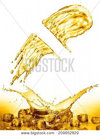 oil splash on gold bokeh background. 3d rendering