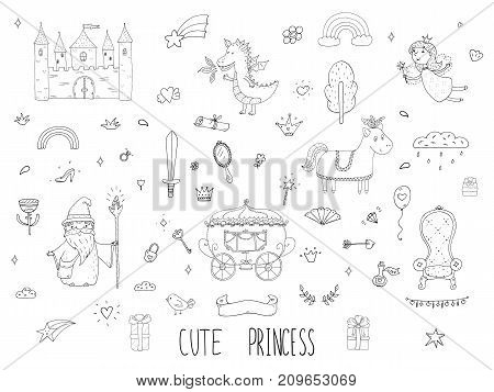 Cute cartoon princess collection . Doodle fairytale set for kids. Hand drawn vector illustration isolated on white