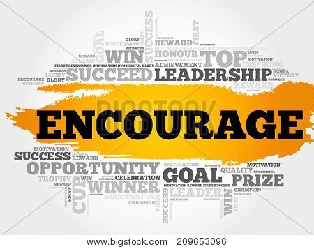 Encourage word cloud collage , business concept background poster