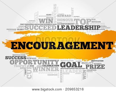 Encouragement word cloud collage , business concept background