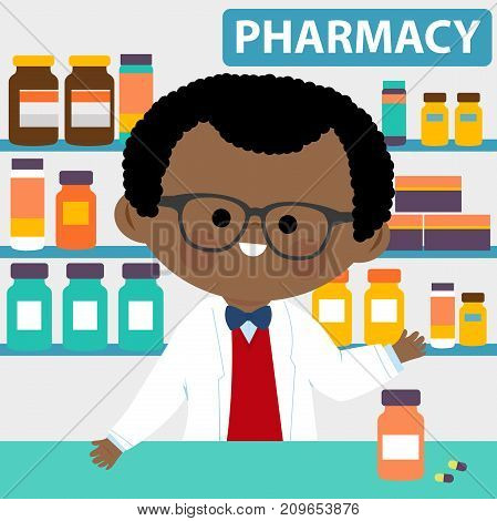 Male pharmacist at the counter in a pharmacy opposite of shelves with medicines.