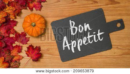 Autumn Foliage With A Blackboard - Bon Appetit