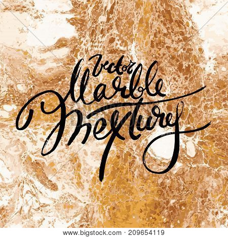 Gold marble texture. Hand draw painting with marbled texture and gold and bronze colors. Golden marble background with white colors, vector illustration